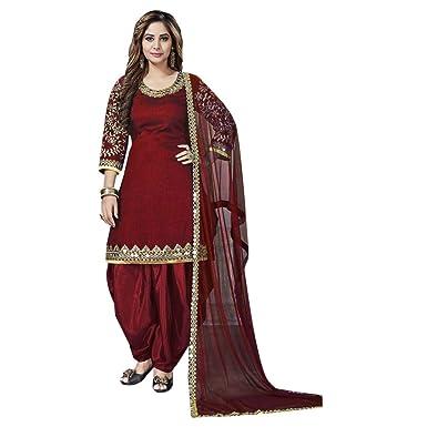 bf7b5950a6 Maroon Patiala Salwar Kameez Suit Indian Punjabi Ethnic Collection 7381 at  Amazon Women's Clothing store:
