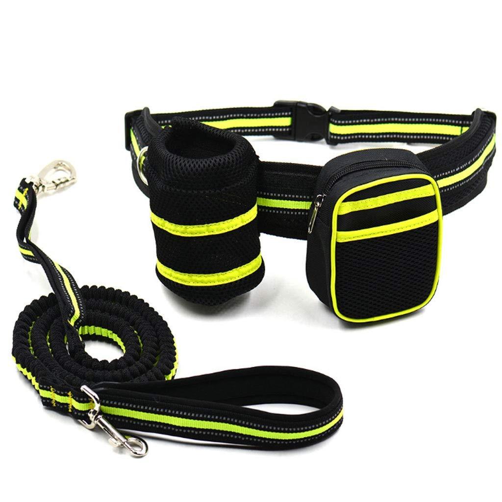 orange Running Dog Leash Lead Sports Jogging Walking Pet Collar Rope Hand Free Waist Dog Leash Set Yellow orange (color   orange)