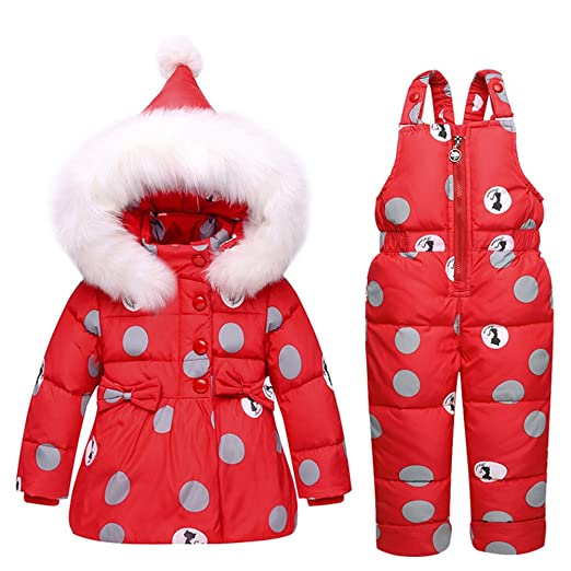 6b72ab0bab97 Baby Girls Snowsuit Toddler Puffer Hooded Jacket + Bib Pants 2 Pieces Set