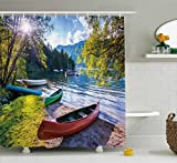 Ambesonne Landscape Shower Curtain, Bohinj Lake with Boats Canoes Triglav National Park Julian Alps Slovenia Print, Fabric Bathroom Decor Set with Hooks, 75 Inches Long, Multicolor