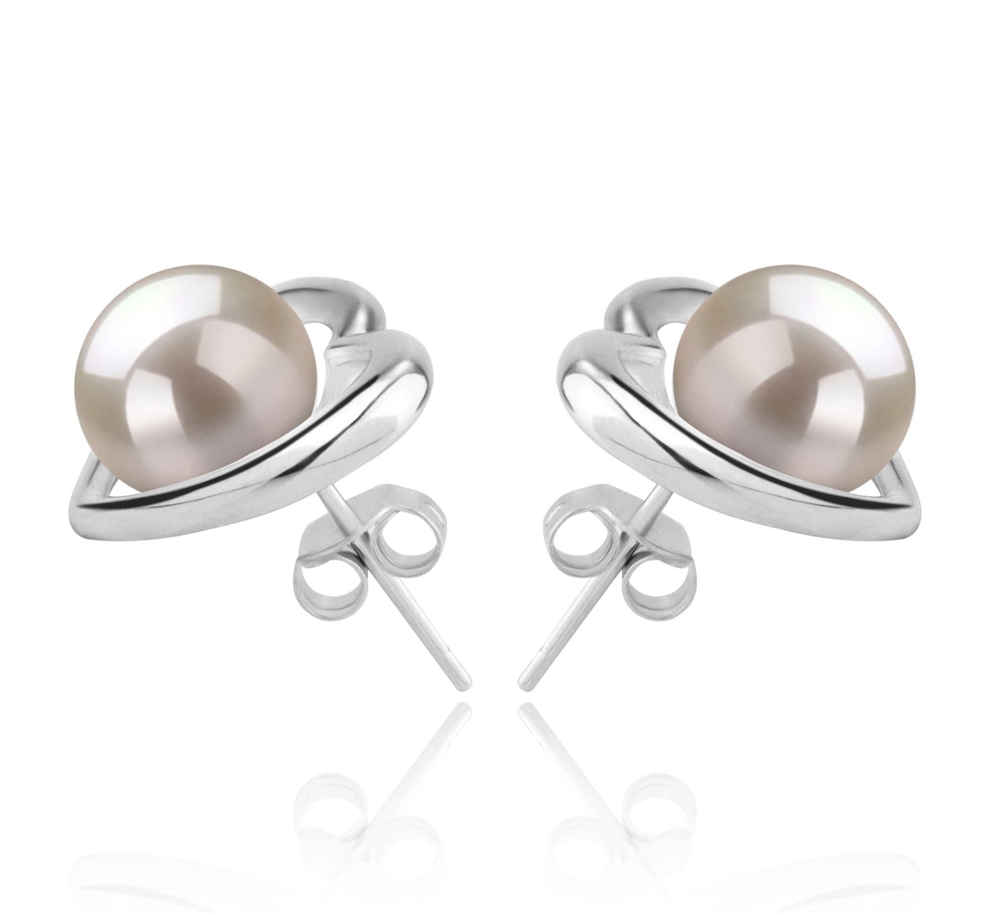 Kimberly-Heart White 8-9mm AAAA Quality Freshwater 925 Sterling Silver Cultured Pearl Earring Pair by PearlsOnly (Image #3)