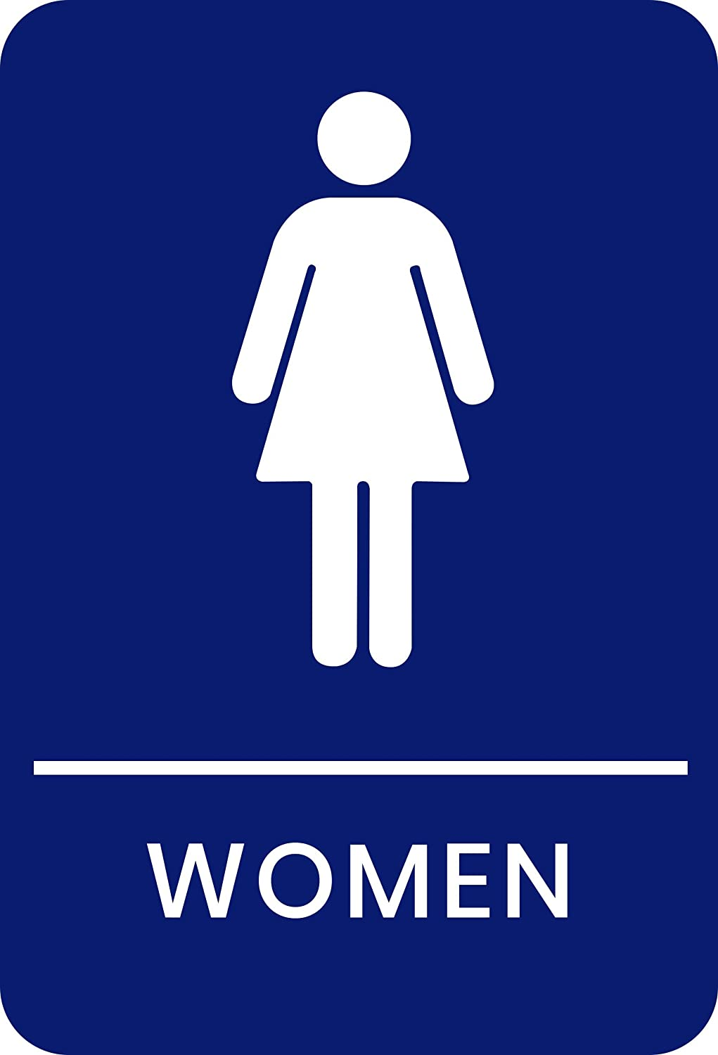 Corko Signs Women's Braille Restroom Sign Blue - Bathroom Sign with Double Sided 3M Tape