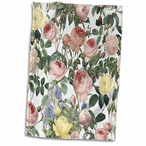 3dRose Uta Naumann Pattern - Victorian Vintage Pastel Roses Flower Watercolor Summer Pattern - 15x22 Hand Towel (twl_266898_1) (Floral Terry Cloth)