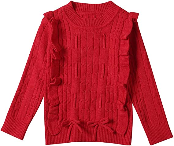 AIKSSOO Toddlers Little Girls Cable Knit Vintage Sweater Crewneck Pullover Base Layer