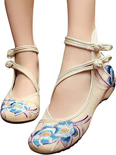 SATUKI Embroidered Shoes for Women Handmade Chinese Style Casual Loafer Floral Flat Shoes