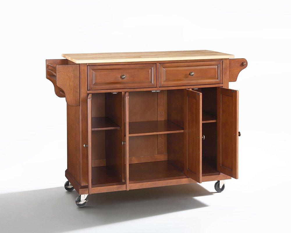 Crosley Furniture Kitchen Cart Amazoncom Crosley Furniture Natural Wood Top Kitchen Cart Island