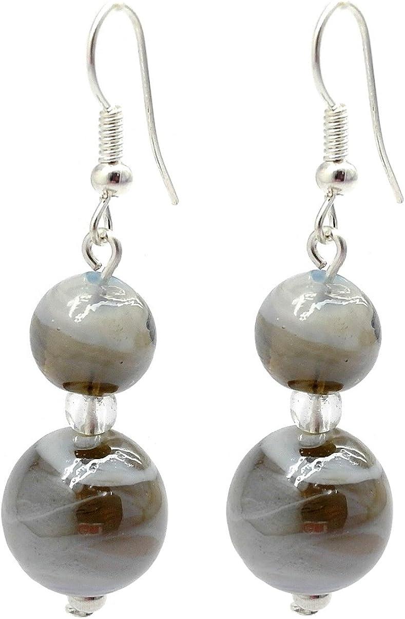 Blanco y gris doble pendientes de gota del grano de cristal de Murano
