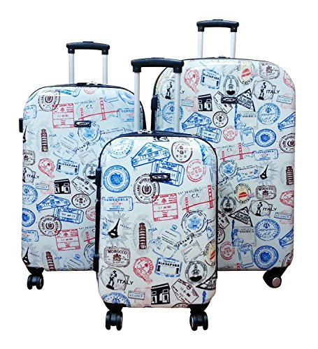 Kemyer, Hard Shell Wheeled Spinner, 3 Piece, Luggage Set (One Size, Silver Stamp)