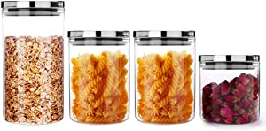 Glass Food Storage Jars with Airtight Stainless Steel Lids,4-Piece Premium Borosilicate Clear Glass Sealable Jars for Kitchen and Pantry Organization-Set Includes 1 each 20.29/30.44/30.44/40.58 FL OZ