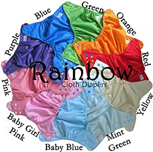 Rainbow Diapers 4.0 One Size Pocket Cloth Diapers LOT OF 10 - MIX & MATCH with Microfiber Insert Reusable, Washable - Similar to BumGenius