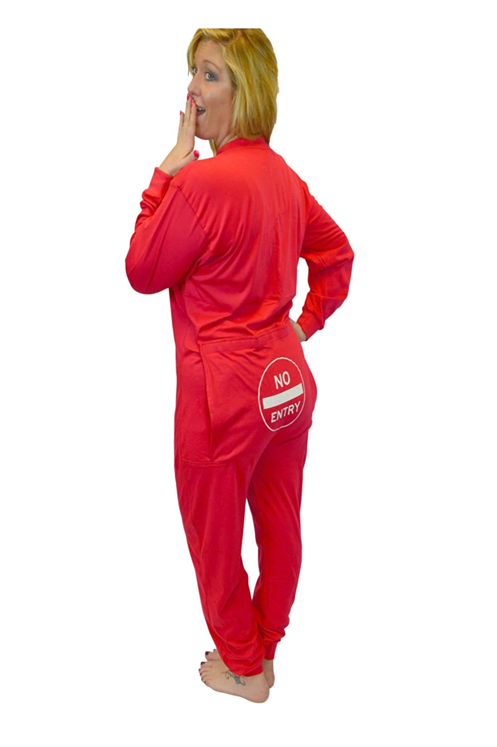 Red Union Suit Onesie Pajamas with Funny Butt Flap NO Entry for Men   Women  at Amazon Men s Clothing store  865a15dab