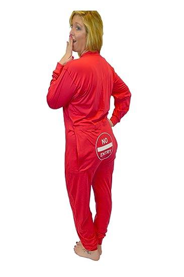 Big Feet Pajama Co. Red Union Suit Onesie Pyjamas with Funny Bum Flap No  Entry  Amazon.co.uk  Clothing b13906c7c
