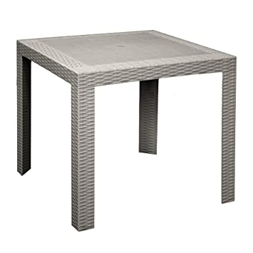 Areta Saturno-T Table d\'appoint Simil rotin Couleur taupe ...