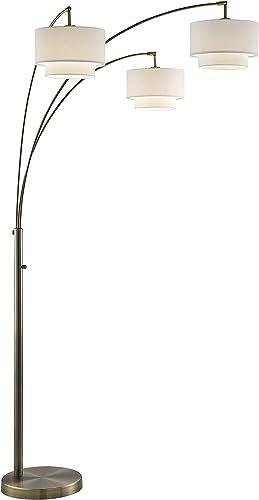 Artiva USA LED602107ABW Lumiere III 83″ Double Shade LED Arched Floor Lamp