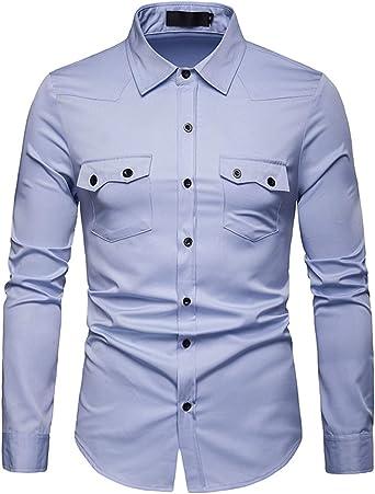 JOLIME Camisa Hombre Manga Larga Lisa Slim Fit Casual Formal Blusas Trabajo Shirt con Bolsillo: Amazon.es: Ropa y accesorios