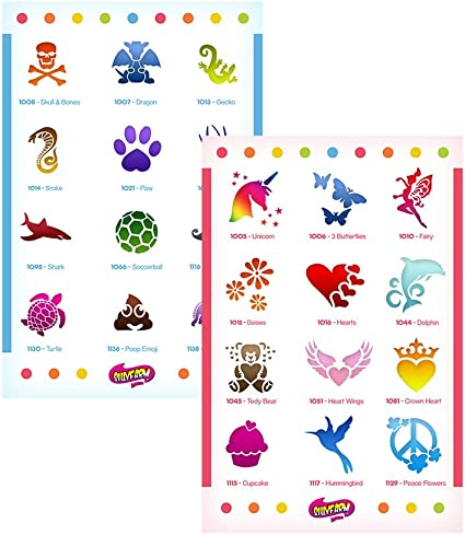Girls Face Painting Stencil Pack x 6 Stencils