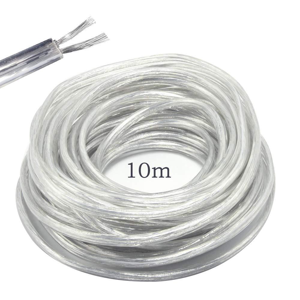 Fil électrique/2Core support PVC secteur électrique Fil de cuivre de câble haute résistance à la température 2x 0,75mm² câble d'alimentation double–10metre Longue