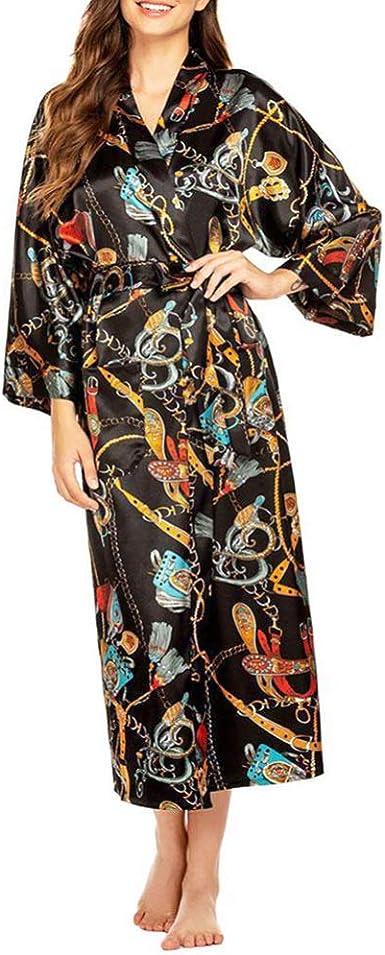 VALICLUD Bata de Kimono de Satén de Seda de Manga Larga para Mujer Bata de Baño Pijama Dama de Honor Ropa de Dormir Camisón Ropa de Dormir