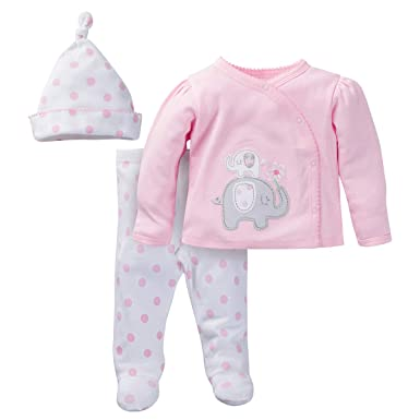 001180ae6 Amazon.com: Organic Cotton Baby Girl Take-Me-Home, 3-Piece Outfit ...
