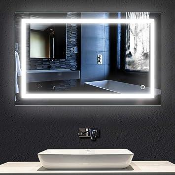 Solide Éclairage Verre De miroir Led 23w,100x60cm,lampe Led Salle Miroir Bain Lampe Lumineux Trempé wOZkPXiuT