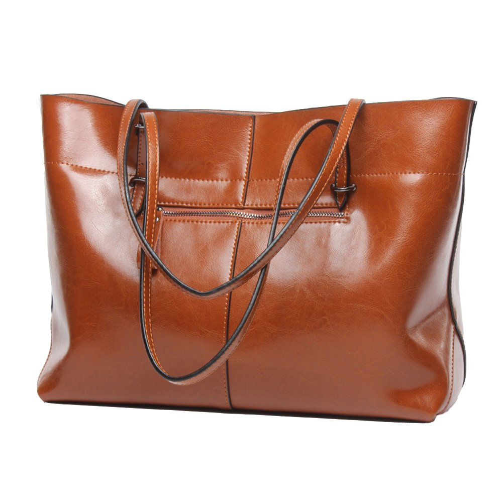 Covelin Women's Handbag Genuine Leather Tote Shoulder Bags Soft Hot Brown