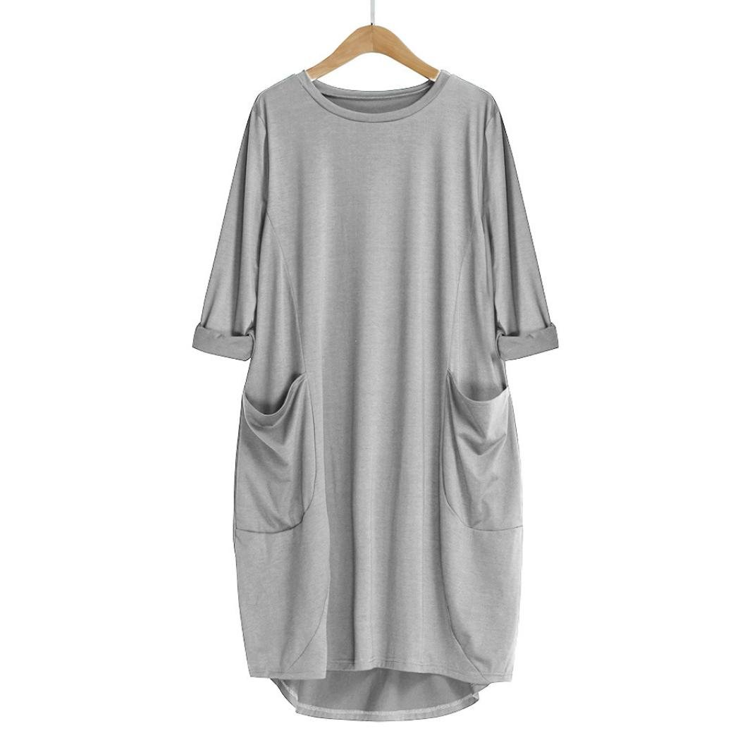 Amazon Women Long Sleeve Shirt Dress Ladies Loose Dress Plus