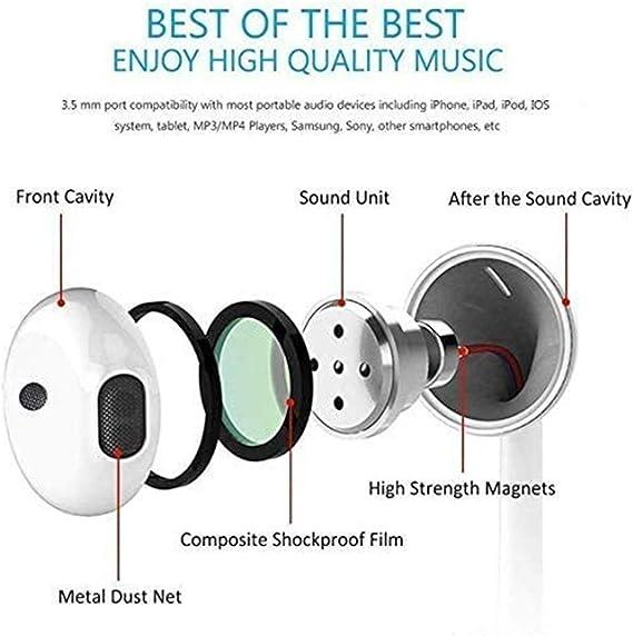 Dlordy Earphones 3.5mm Jack Headphones in-Ear Headsets Wired Earphones White