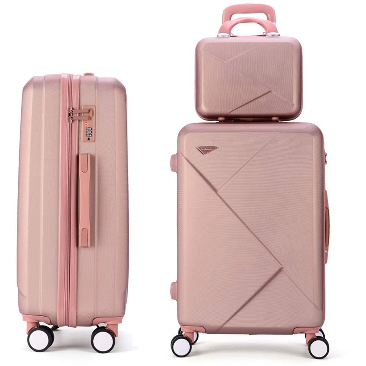 ファッションヴィンテージトロリースーツケース、レトロabsハードトランク360°スピナー軽量キャリースーツケース付きTSAロック付き学生男性女性,gold,20+14in B07RBXLXVL gold 20+14in