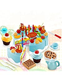 Favor 54PCS Pretend Role Play Kitchen Toy Birthday Cake Food Cutting Set Kids Gift reviews