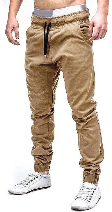 Cinnamou Pantalones de Algodón para Hombre, Pantalones de Trabajo con Bolsillos para Trabajo Viaje Deporte Pantalón con Cintura Elástica Cordón: Amazon.es: Ropa y accesorios
