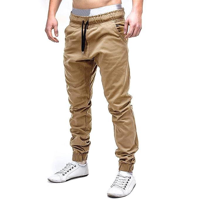 Cinnamou Pantalones de Algodón para Hombre, Pantalones de Trabajo con Bolsillos para Trabajo Viaje Deporte Pantalón con Cintura Elástica Cordón: Amazon.es: ...