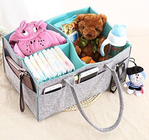 Baby Diaper Caddy Organizer Grey Felt Nursery Changing Table Tote Lightweight Car Travel Bag Foldable Toy Storage Bin Gift Basket for Boys & Girls