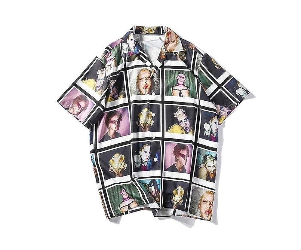 Multicolored-3,Medium ZXLLZ Casual Linen Hibiscus Indigo Flower tip Collar Shirt Men