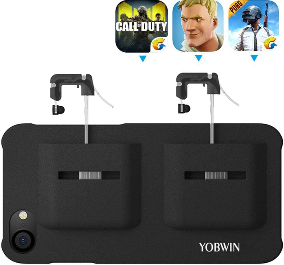 Mobile Game Controller Case for iPhone X/XS, Phone Cover Compatible with PUβG/COD Mobile L1R1 Trigger Joystick Gamepad Grip Remote, for Apple iOS (5.8 inch Black)