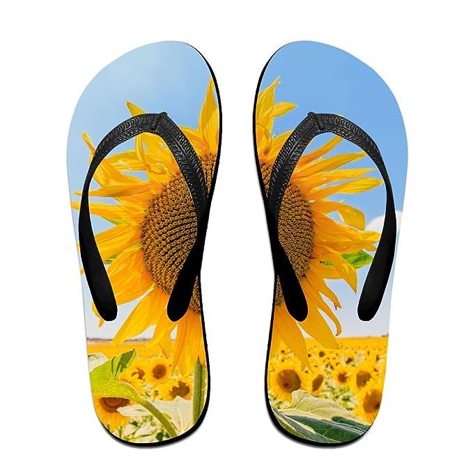 a1e7d6b4c41c Amazon.com  Unisex Summer Beach Slippers Yellow Sunflower Flip-Flop ...