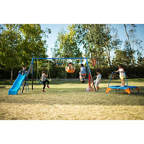 FITNESS REALITY KIDS 'The Ultimate' Sports Series Swing Set with Basketball and Soccer (8 Station)