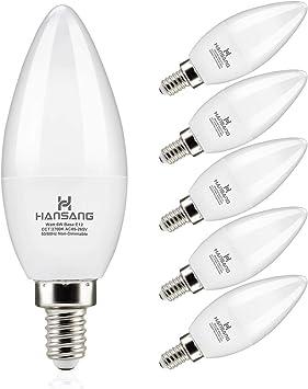 Hansang Candelabra LED Bulbs,60 Watt Equivalent,600LM Warm White 2700K,Type B Light Bulb,E12 Small Base,Decorative Chandelier Light Bulb,Non-Dimmable,Pack of 6