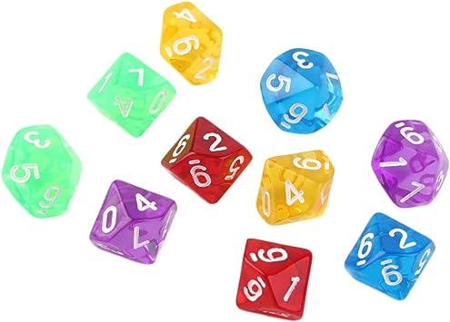 10pcs / Set Juegos de Varios Lados Dados D10 Juego en cuadritos del Juego Jugar 5 Color Mundo (Transparente) ESjasnyfall: Amazon.es: Juguetes y juegos