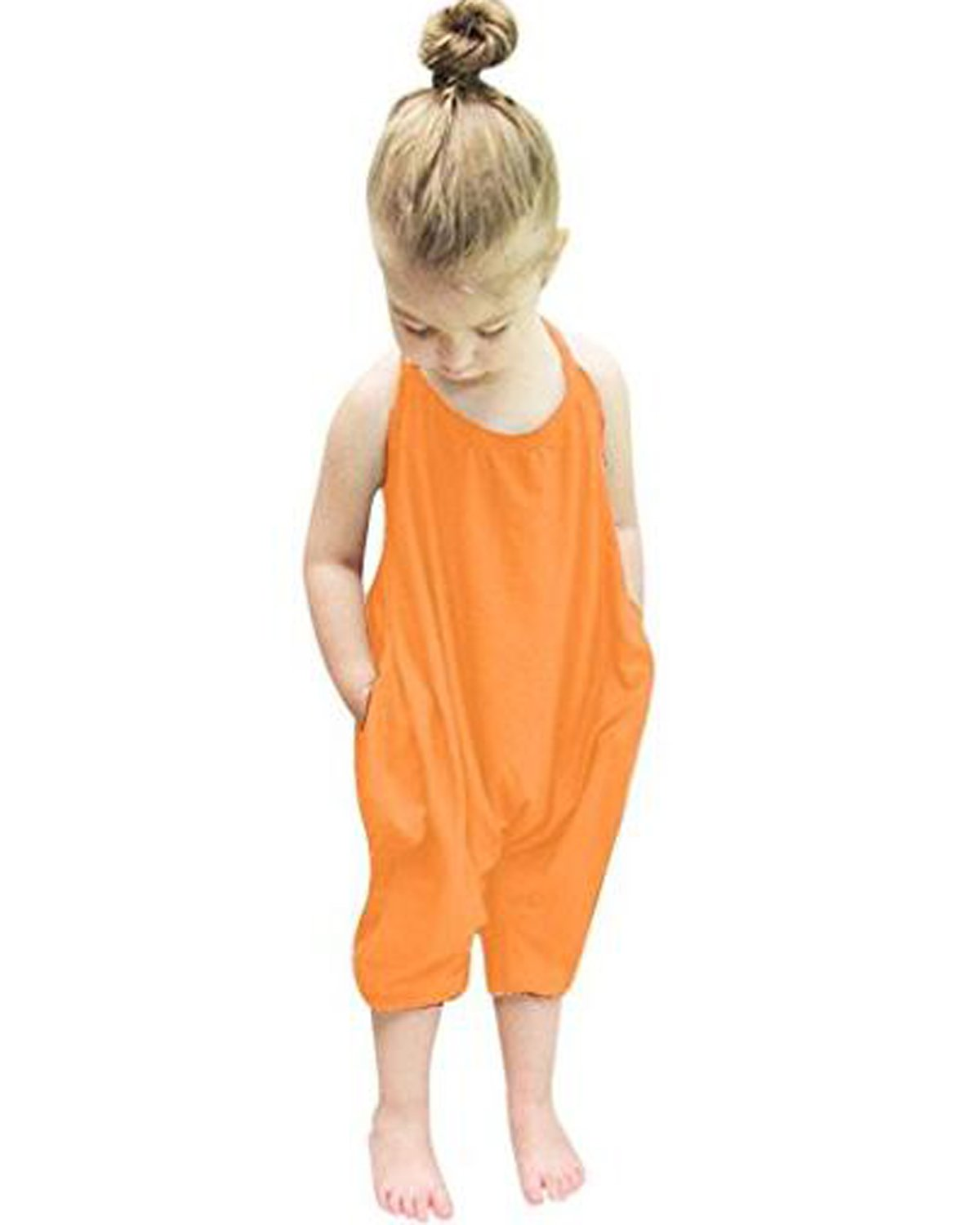 Kidsform Baby Girls Straps Rompers Cotton Halter Toddler Jumpsuit Playsuit Harem Pants One-Piece For Kids 6M-6T Orange 2-3 Years