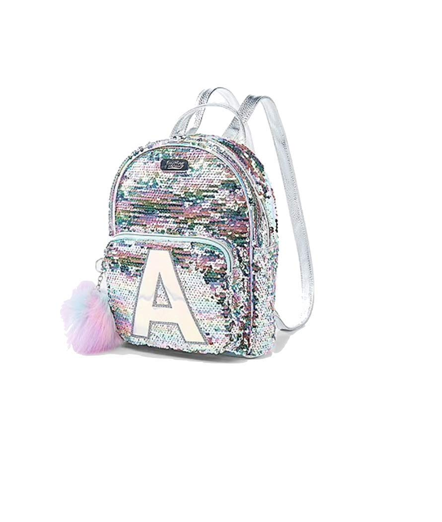 Letter E Justice Flip Sequin Mini Small Backpack Bleach White Unicorn Initial
