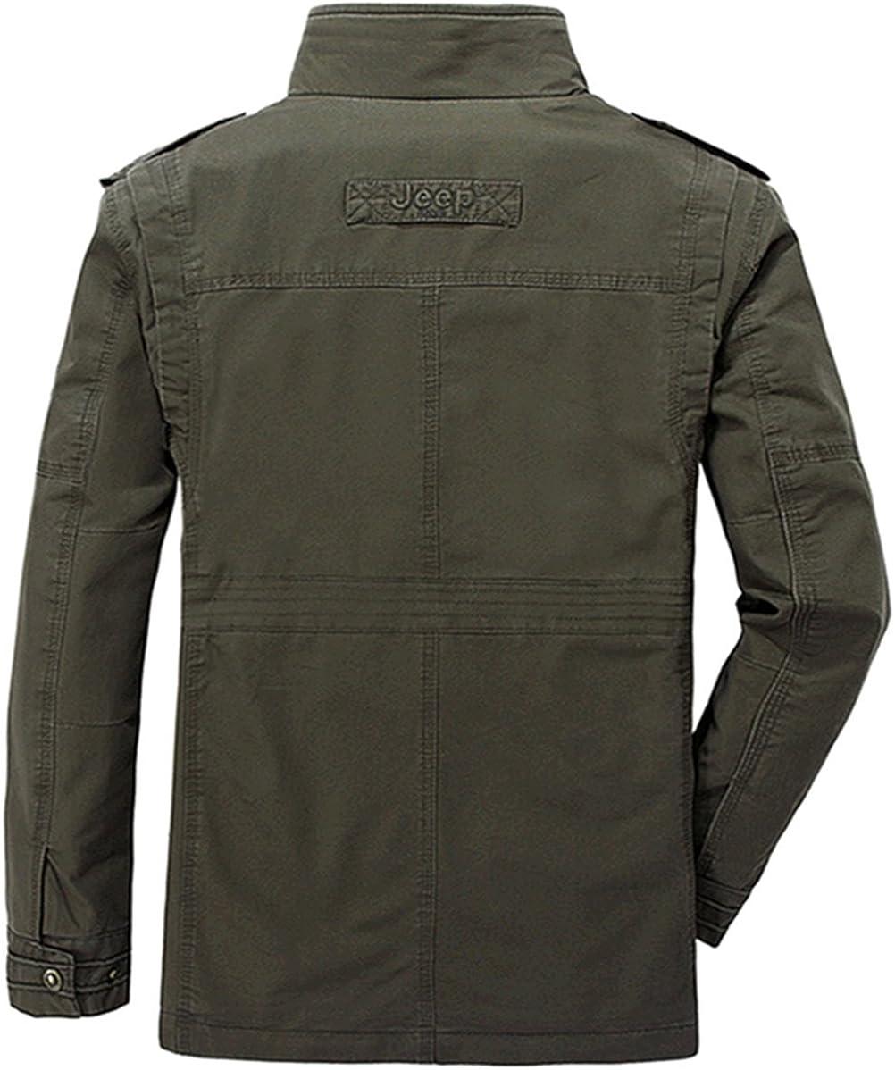 WS668 Printemps Automne Homme Stand Collar Cotton Manteau Haute Qualité Multi-Poches Zipper Outdoor Tops Militaire Vestes Mens Army Jackets Vert Armée