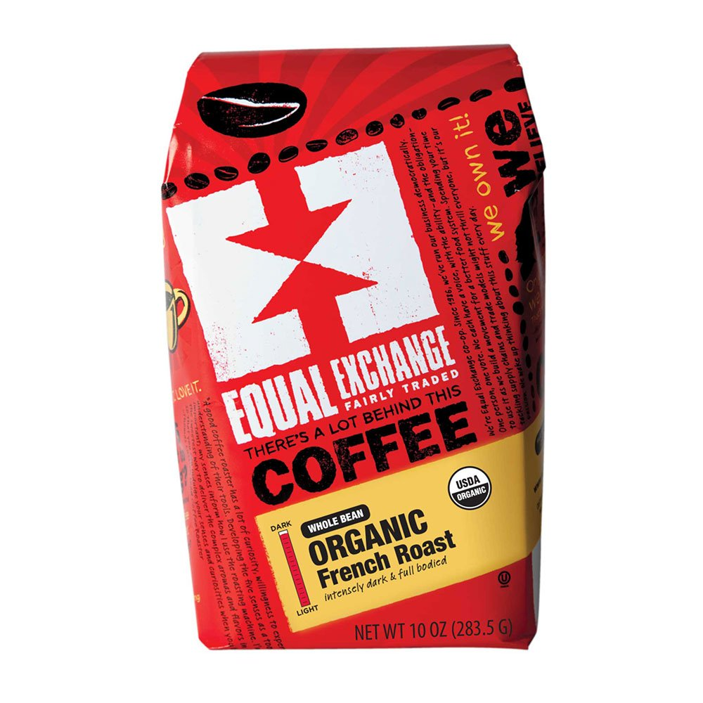 Equal Exchange Organic Coffee | French Roast | Chocolaty Richness with a Subtle Smoky Flavor | Whole Bean | 10 Ounce Bags | Pack of 3