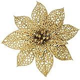 OKSANO - 12 flores de Navidad para decoración de árbol de Navidad, flores artificiales de Pascua, flores de Navidad con purpurina, arbustos de flor de Pascua, adornos para árbol de Navidad, adornos de plata para decoración de Navidad, Dorado