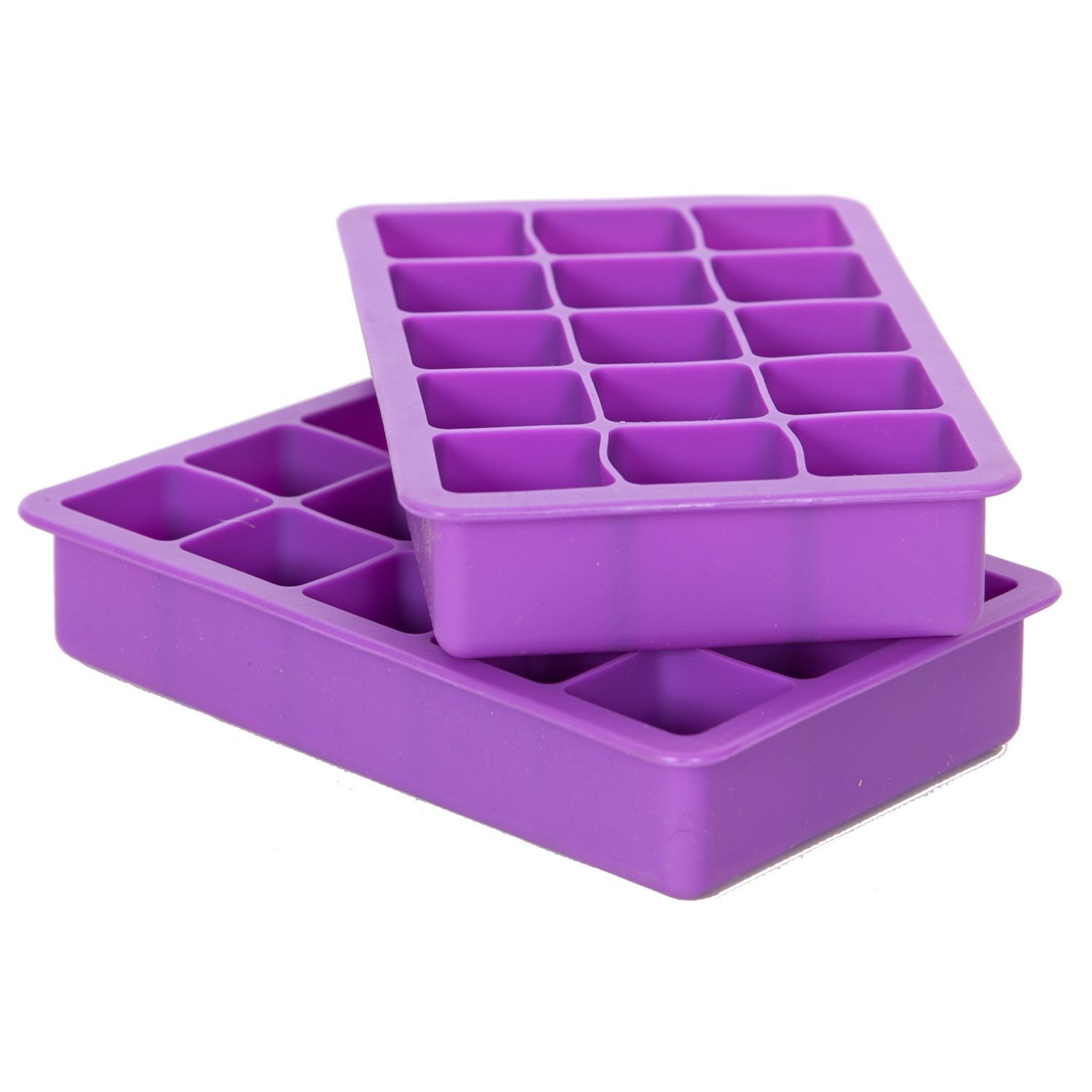 Elbee Home EBH-613 Set Of 2 Silicone Ice Cube Trays Easy Release Pop Out Makes 7.2 x 2.9 x 4.3 inches