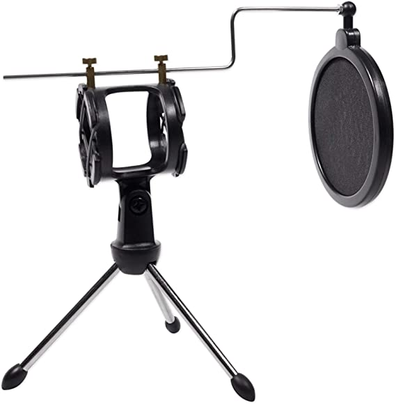 Shock Mount Rockville RTMS21 Desktop Tripod Microphone Stand With Pop Filter