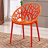 (Quantity: 3) Lazy backrest chair / balcony simple plastic chair / personalized dining chair / creative home fashion leisure chair ( Color : Orange )