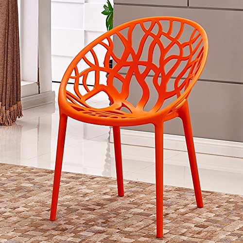 (Quantity: 3) Lazy backrest chair / balcony simple plastic chair / personalized dining chair / creative home fashion leisure chair ( Color : Orange ) by Xin-stool