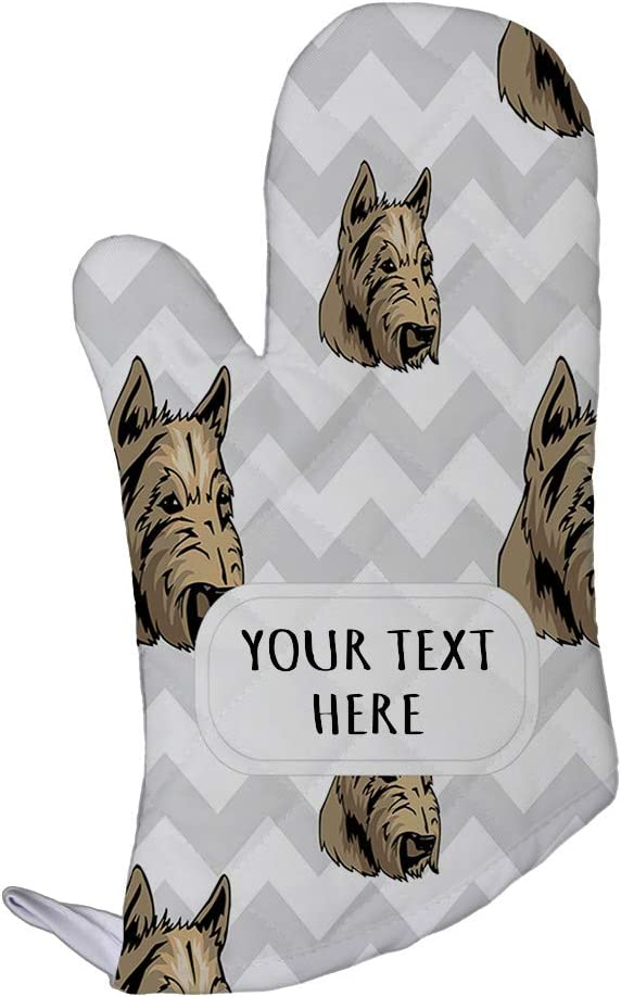 Style In Print Polyester Oven Mitt Custom Scottish Terrier Dog Gray Zigzag Pattern Adults Kitchen Mittens