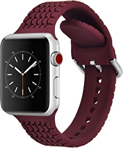 CAGOS Compatible with Apple Watch Bands 42mm 44mm Women Men, Sport Loop Waterproof Silicone Replacement Straps Wristbands for Apple Watch Series 5/Series 4/Series 3/Series 2/1(Burgundy, 42mm/44mm)