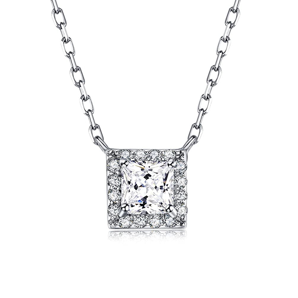 2dff7db6db1a5 Amazon.com: LicLiz Princess Cut Cubic Zirconia Halo Pendant Necklace ...